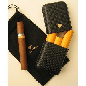 Cohiba Zigarrenetui COHIBA SIGLO VI für 3 Zigarren - Material- LEDER, Farbe- SCHWARZ-GELB
