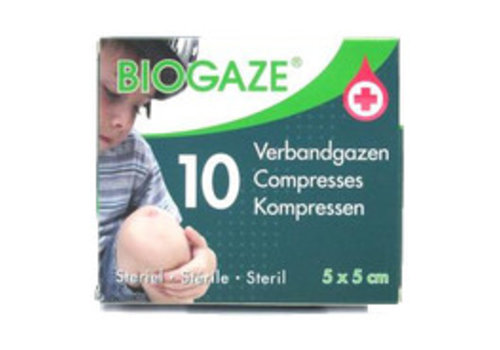 Biogaze Verbandgazen 10st  5x5