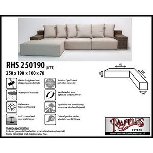 Beschermhoes voor loungebank / hoekbank, 250 x 190 x 100 H: 70 cm