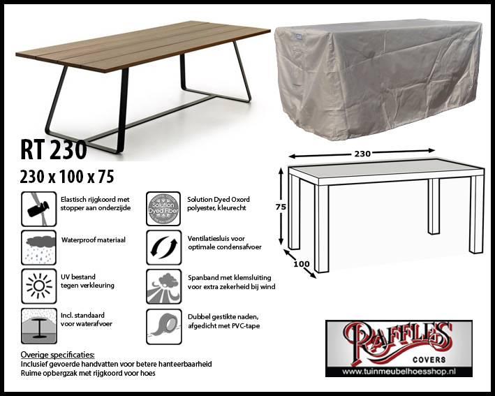 Afdekhoes voor rechthoekige tafel 230x100 tuinmeubelhoesshop for Afdekhoes tafel