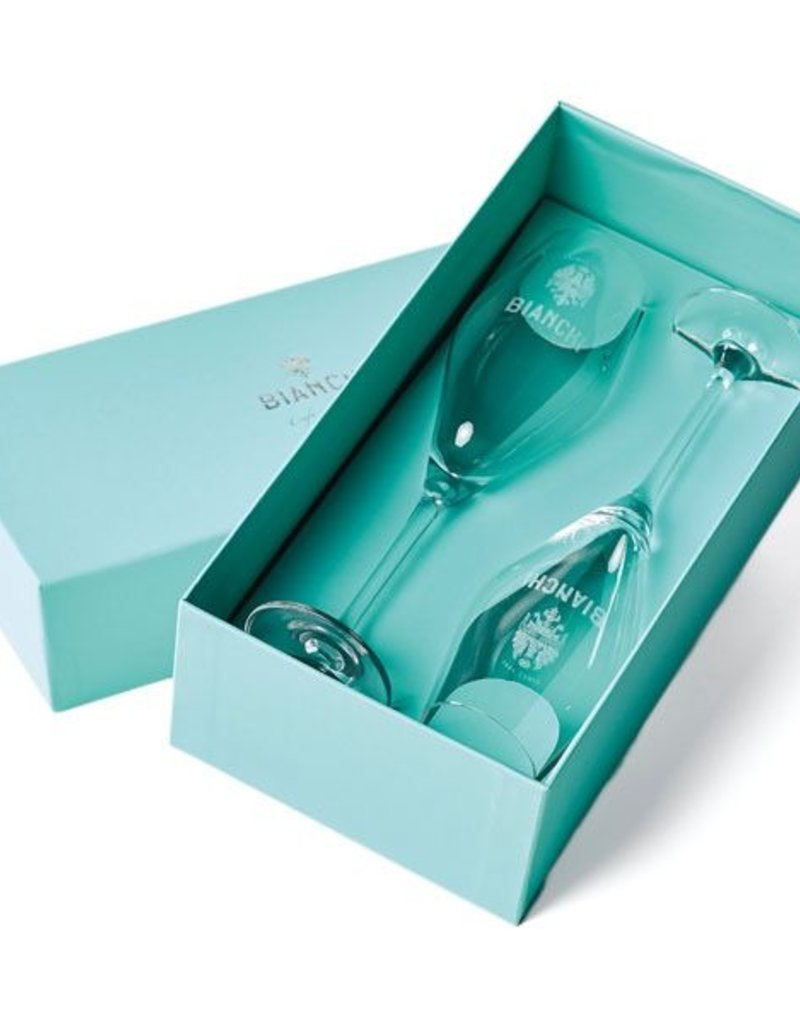 Bianchi Cafe & Cycles Champagne Flutes