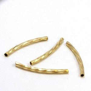 Goldfilled 14 kt kraal buisje 24x2 mm gedraaid