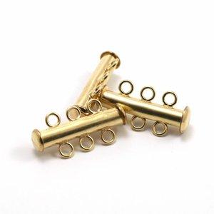 Goldfilled 14 kt magnetische sluiting 3-rijen 22x5 mm