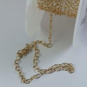 Goldfilled 14 kt jasseron 'ovaal' / per 10 cm