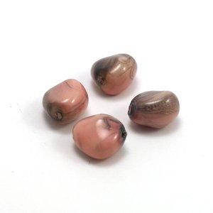 Glaskraal Gemarmerd Roze-Grijs #1 9x11 mm (per stuk)