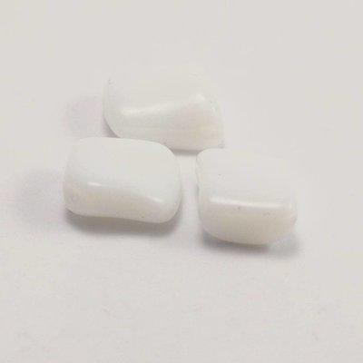 Witte fantasie kraal, diagonaal rijggat 15x12 mm (per stuk)