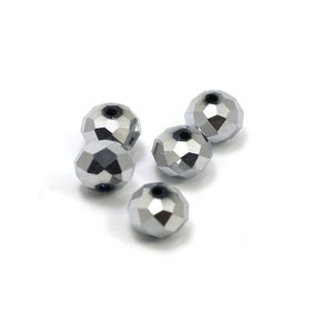 Facet Disc Silver 8x6 mm (per stuk)