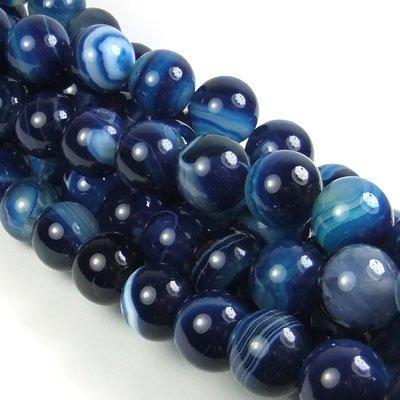 Blauwe agaat kralen rond 14 mm (streng)
