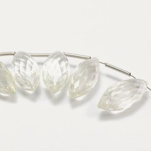 Bergkristal Kwarts briolette 20x8 mm (per stuk)