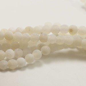 Agaat kralen - effloresce wit 6 mm (streng)