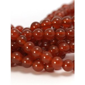 Agaat - rode agaat kralen 6 mm rond  (streng)