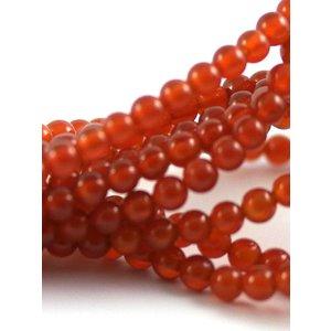 Carneool kralen 4 mm rond (streng)
