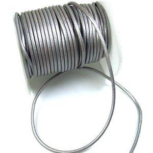 Leer 2 mm rond grijs metalic