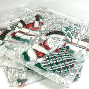 Organza zakje 'kerst' 3 stuks