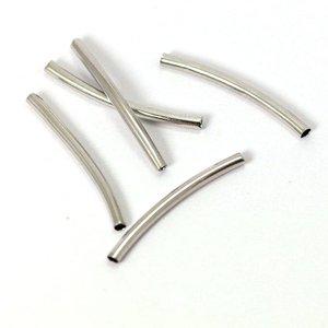 Buisjes kralen 25x2 mm antiek zilverkleurig (10 st)