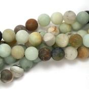 Amazoniet kralen 'frosted' 8 mm rond (streng)