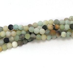 Amazoniet kralen 'frosted' 4 mm rond (streng)