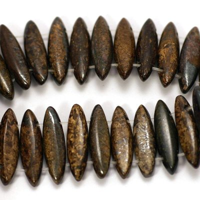 Bronziet kralen 22x6x5 mm marquise (streng)