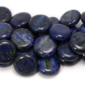 Lapis lazuli kralen plat rond 16x6 mm (streng)