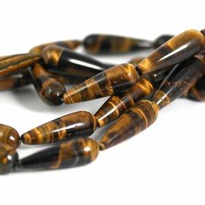 Tijgeroog kralen druppel ca, 30x10 mm (streng)