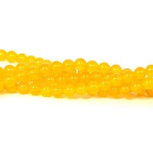 Jade kralen 6 mm rond imitatie gele aventurijn (streng)