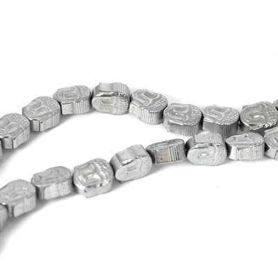 Hematiet kralen platinum plated buddha (streng)