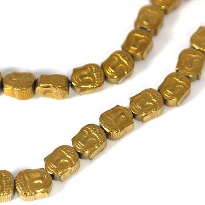 Hematiet kralen gold plated buddha (streng)