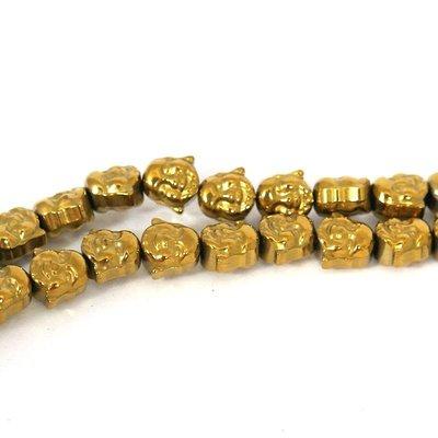 Hematiet kralen gold plated happy buddha (streng)