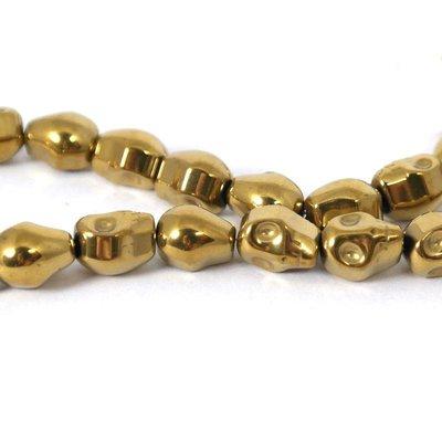 Hematiet kralen gold plated skull (streng)