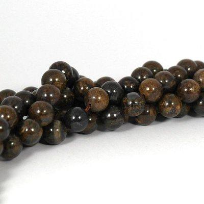 Bronziet kralen 10 mm rond (streng