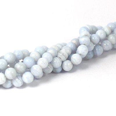 Agaat - blue lace agaat kralen 6 mm rond (streng)