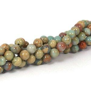Jaspis - aqua terra jaspis  kralen 6 mm rond (streng)