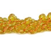 Citrien kralen 8 mm rond (streng)