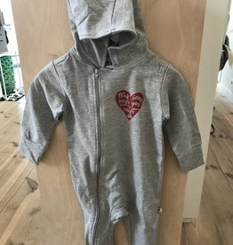 Cos I Said So Cos I Said So hooded playsuit heather grey / red 'my heart says yes'