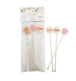 Rice Rice 12 cocktail stirrers gold glitter