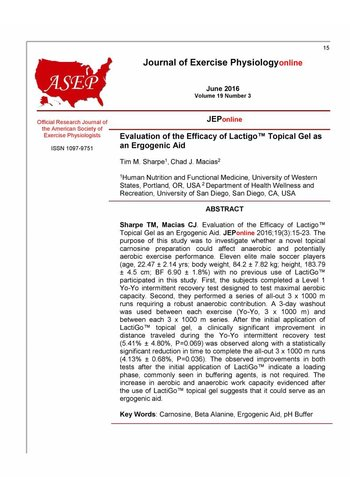 Official Research Journal of the American Society of Exercise Physialogists  LactiGo™