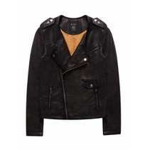 Zwarte faux leather jacket 760035