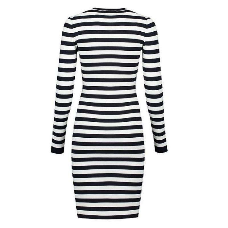 Lange gestreepte jurk in zwart