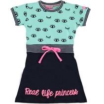 Blauw met groene princess jurk Fabiënne