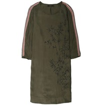 Olijfgroene detailed jurk 780048