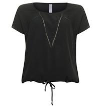 Zwarte tape blouse 813205