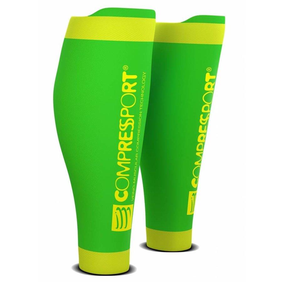 CompresSport Calf Sleeves R2 V2 Fluor Groen-Geel