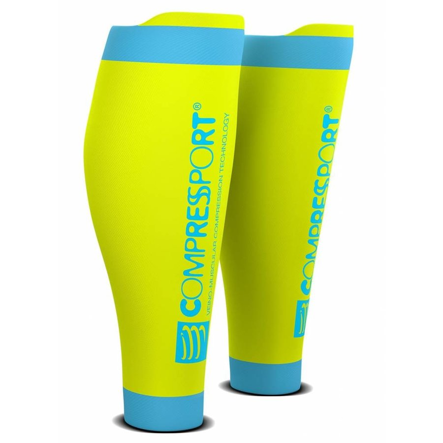 CompresSport Calf Sleeves R2 V2 Fluor Geel-Blauw
