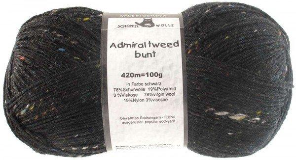 Schoppel-Wolle ADMIRAL TWEED BUNT 880 BLACK