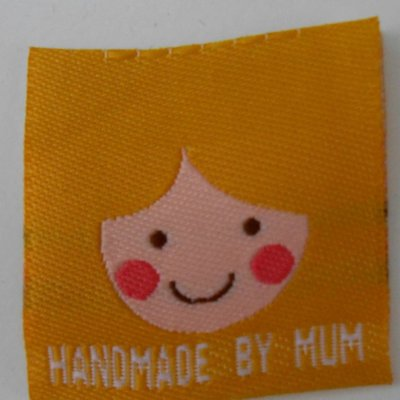 Innaailabel 'Handmade by mum' geel