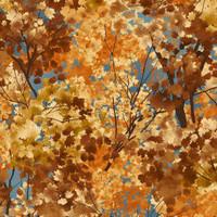 Katoen - Frosted Fall bladeren blauw
