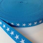 Elastische tailleband - turkoois met sterren (2,00 cm)