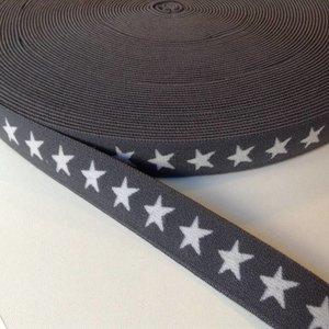 Elastische tailleband - grijs met sterren (2,00 cm)