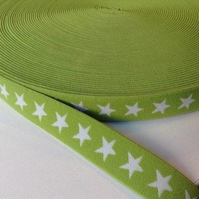Elastische tailleband - groen met sterren (2,00 cm)