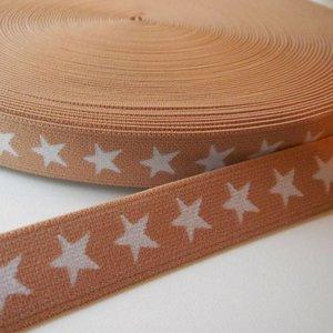 Elastische tailleband - Mokka met sterren (2,00 cm)